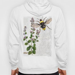 Cottage Style Thyme, Bumble Bee, Hummingbird, Herbal Botanical Illustration Hoody