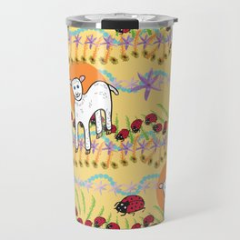 © Little Lamb with ladybugs pattern Travel Mug