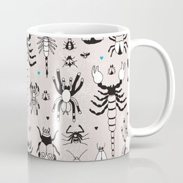 Creepy grunge insect and spider illustration pattern print Coffee Mug