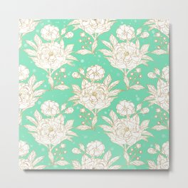stylish golden and mint floral strokes design Metal Print