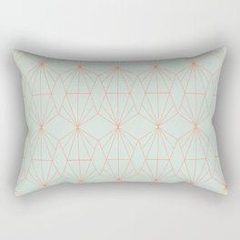 Geometry art decó in blue and orange Rectangular Pillow