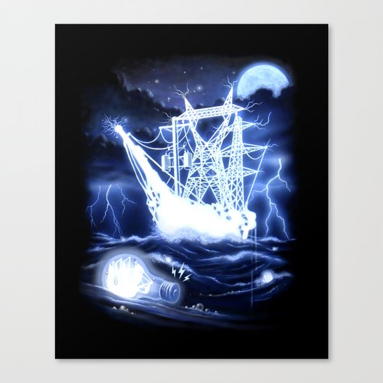 """High-Voltage Ghost Ship"" Canvas Print"