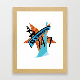 Orange blue gymnastic star 247 Framed Art Print