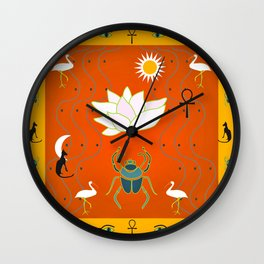Egyptian Design - Salmon Gold Wall Clock