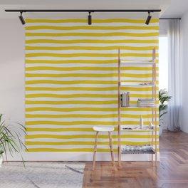 Yellow And White Horizontal Stripes Wall Mural