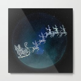 Santa on his Glitter way Metal Print