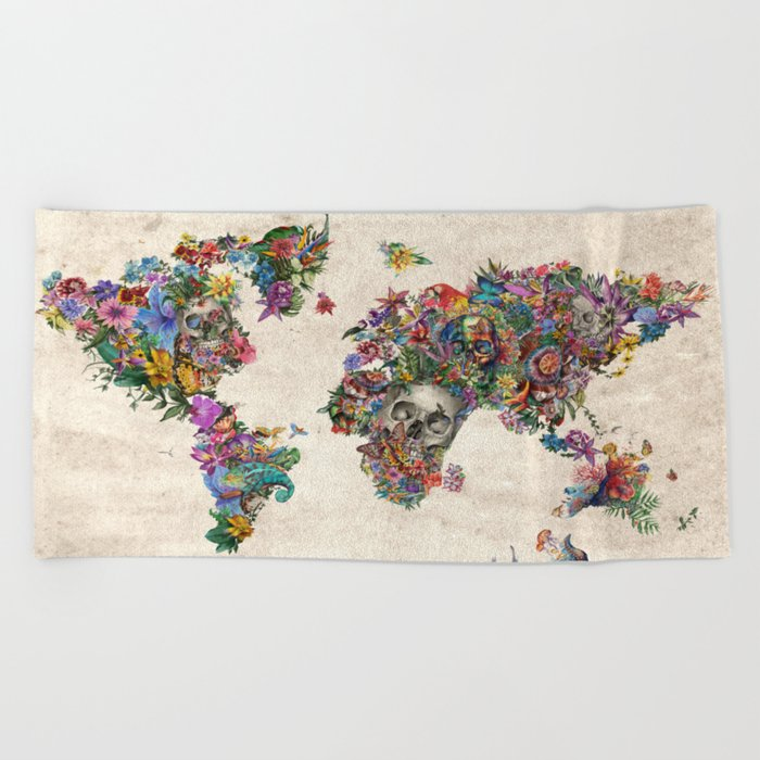 floral skull world map 2 Beach Towel