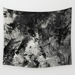 Impossibility - Textured, black and white abstract Wall Tapestry