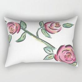 Vintage Pink Rose Outlined Rectangular Pillow