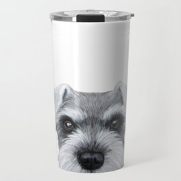 Schnauzer Grey&white, Dog illustration original painting print Travel Mug