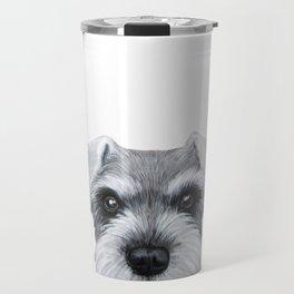 Schnauzer Grey&white, Dog illustration original painting print Travel Mug