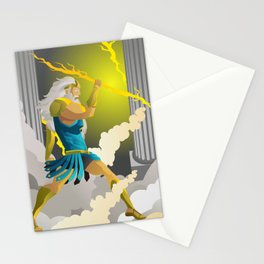 zeus jupiter god throwing a ray Stationery Cards