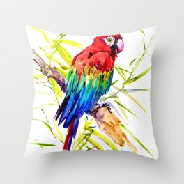 Parrot Scarlet Macaw, Tropical Birds, Jungle Red, Green Blue bright colored tropical artwork Throw Pillow