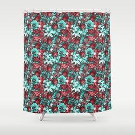 Retro Flowers - Euphoric Vibes Flowery Pattern Shower Curtain