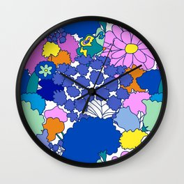Far-Out 60's Floral in White Wall Clock