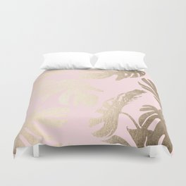 Simply Tropical Palm Leaves White Gold Sands on Flamingo Pink Duvet Cover