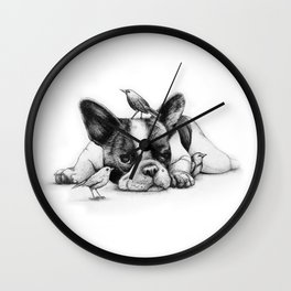 Frenchie and the Birds Wall Clock