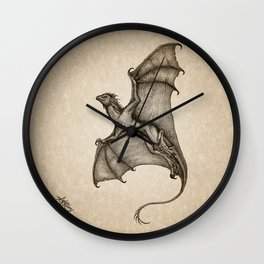 """Hurricane Wyvern"" by Amber Marine, Ink & Graphite Dragon Art, (Copyright 2016) Wall Clock"