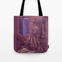 hallion Tote Bags featuring You Comin' Blondie?  by Karen Hallion Illustrations