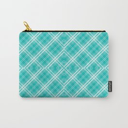 Blue & White Diagonal Plaid Scottish Clan McTiffany Carry-All Pouch