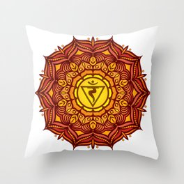 Solar Plexus Mandala Chakra #01 Throw Pillow