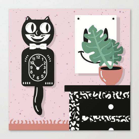 Cat Clock  Canvas Print