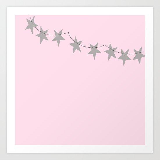 Grey stars on pink background Art Print