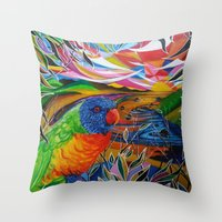 paradise Throw Pillows featuring Paradise by shannon's art space