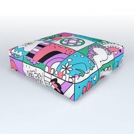 Inchies Doodle Design - Dark Pink Purple Blue - Spring Outdoor Floor Cushion