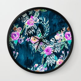 BIRD OF HEY - INDIGO Wall Clock