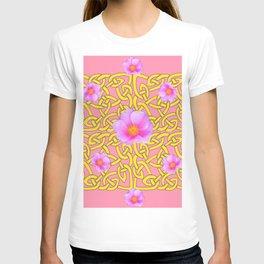 Decorative Yellow Celtic Pattern Pink-Coral  Rose Art T-shirt