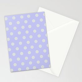 Blue Ultra Soft Lavender Thalertupfen White Pōlka Large Round Dots Pattern Stationery Cards