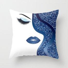 glittery woman Throw Pillow