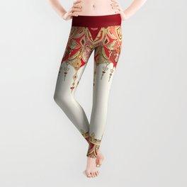 Royal Red Art Deco Double Drop Leggings