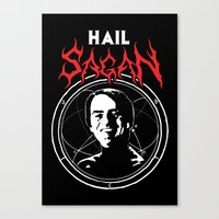 atheist Canvas Prints featuring HAIL SAGAN by Normal-Sized Deet