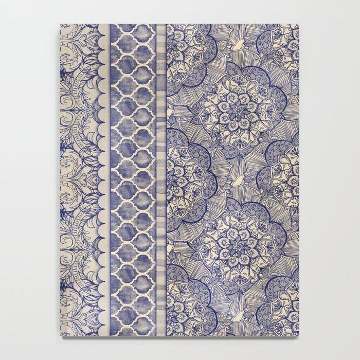 Vintage Wallpaper - hand drawn patterns in navy blue & cream Notebook