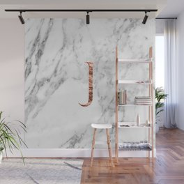 Monogram rose gold marble J Wall Mural