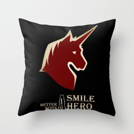 A Smile Better Suits A Hero Throw Pillow