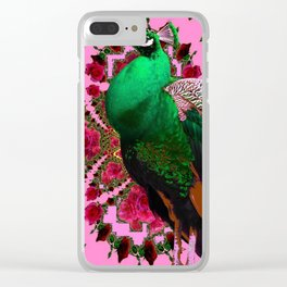 STATELY GREEN PEACOCK PINK-RED ROSES ABSTRACT Clear iPhone Case