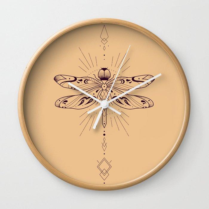 Geometric Dragonfly Wall Clock by naylasmith | Society6
