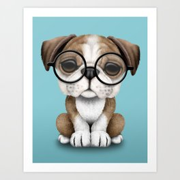 Cute English Bulldog Puppy Wearing Glasses on Blue Art Print