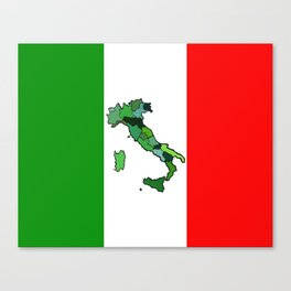 Map of Italy and Italian Flag Canvas Print