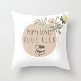 Poppy Loves Book Club Throw Pillow