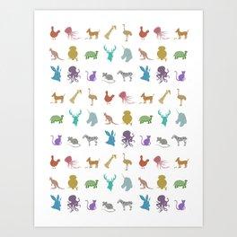 Glitter Animals C Art Print