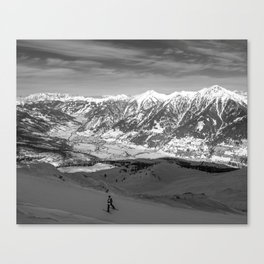 Skiing in the Alps Canvas Print