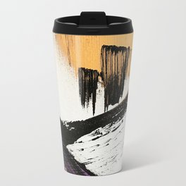 Axis [2]: a bold, minimal abstract in gold, purple, blue, black and white Travel Mug