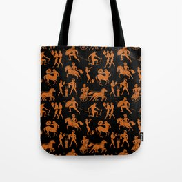 Greek Figures // Orange & Black Tote Bag