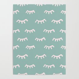 Mint Sleeping Eyes Of Wisdom - Pattern - Mix & Match With Simplicity Of Life Poster