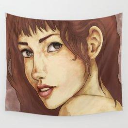 Red Feminine Girl Wall Tapestry