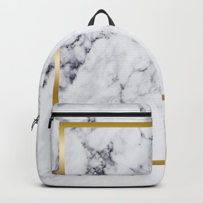 White Marble Gold Frame Backpack by artonwear | Society6